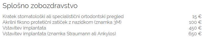 Cenik implantata Ankylos Slovenija