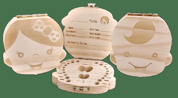 lesena škatlica za shranjevanje mlečnih zobkov